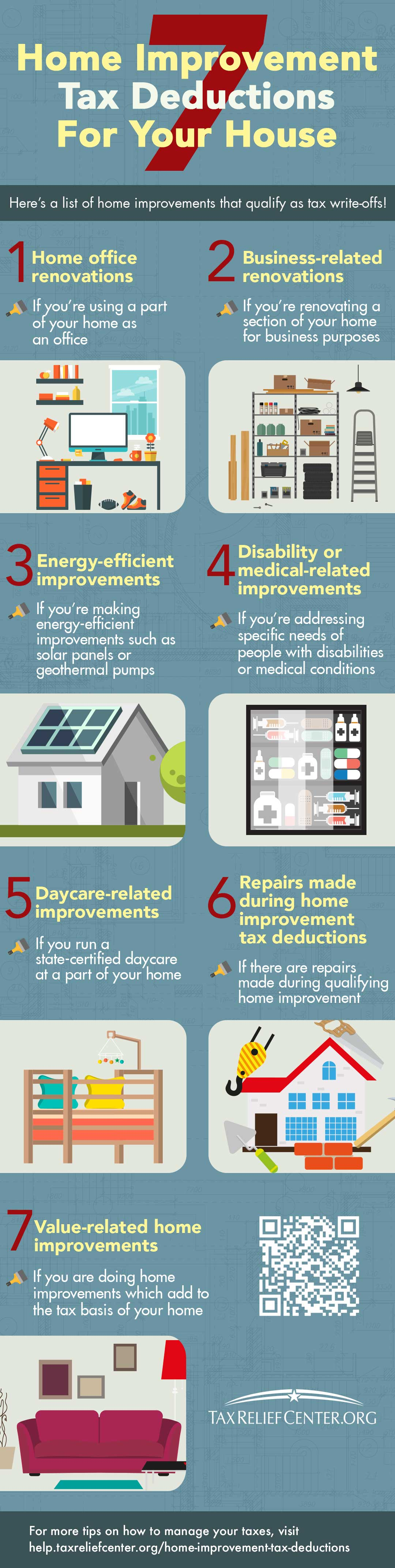 7 Home Improvement Tax Deductions for Your House [INFOGRAPHIC] | https://help.taxreliefcenter.org/home-improvement-tax-deductions/